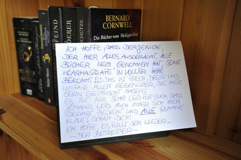 Die Betreiberin des Tausch-Regals schrieb einen Brief an den Bücherdieb von Limbach-Oberfrohna.