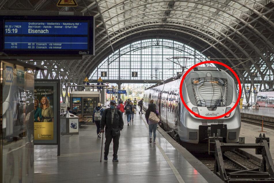"""Über diese Schräge (siehe Kreis) am Ende der Regionalbahn nach Eisenach kletterte der Mann aufs Zugdach und fuhr dort als """"blinder Passagier"""" mit."""