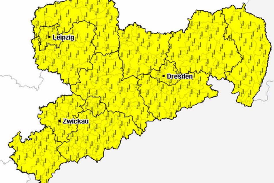 In ganz Sachsen muss am Mittwochnachmittag mit Gewittern gerechnet werden.