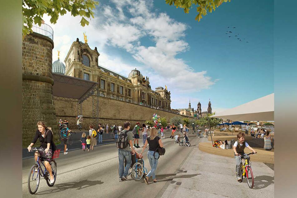 So stellt sich eine Arbeitsgruppe des Allgemeinen Deutschen Fahrrad-Clubs Dresden ein autofreies Terrassenufer vor.
