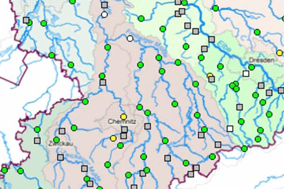 Bislang gilt die Hochwasserwarnung ausschließlich für Chemnitz und Jahnsdorf.