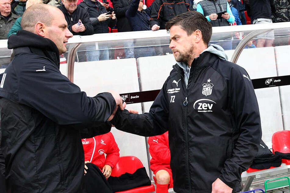 Sportdirektor David Wagner (l.) vertraut weiter in die Trainer-Fähigkeiten von Torsten Ziegner.