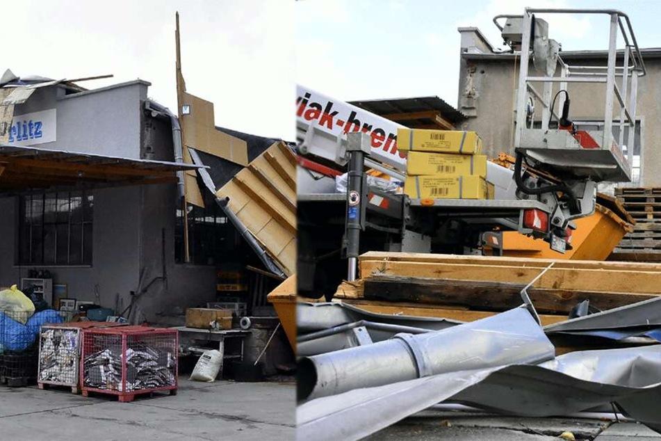 Sturm reißt Dach von Recyclingfirma herunter: Mehrere 10.000 Euro Schaden
