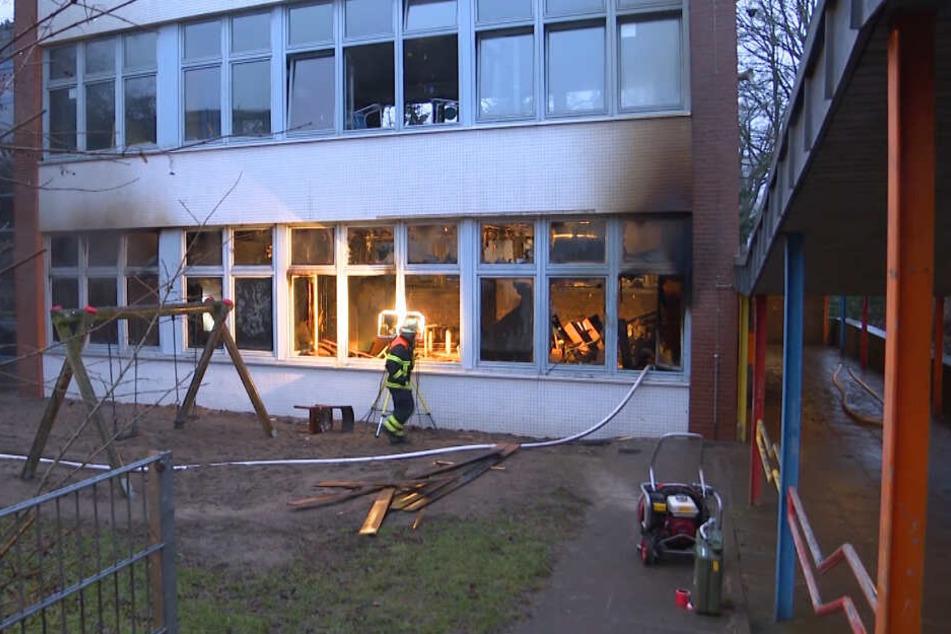 Der Gruppenraum im Erdgeschoss der Schule wurde zerstört.