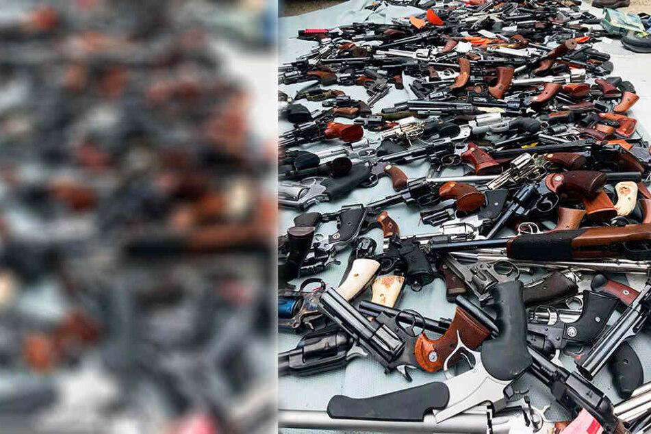 Dutzende Waffen wurden in der Luxusvilla gefunden.