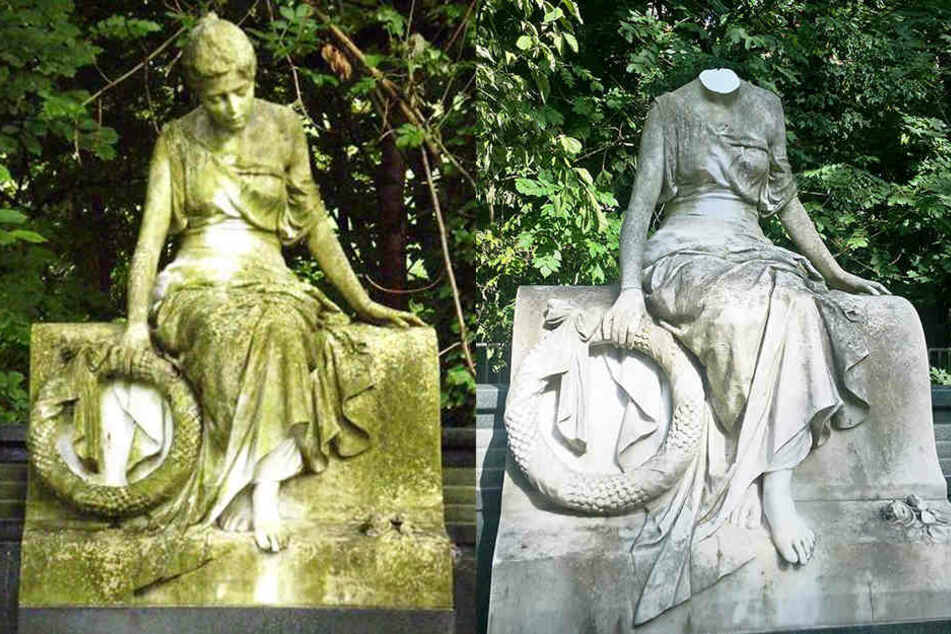 Vandalen schlugen auf dem Leipziger Südfriedhof mehreren Figuren die Köpfe ab.