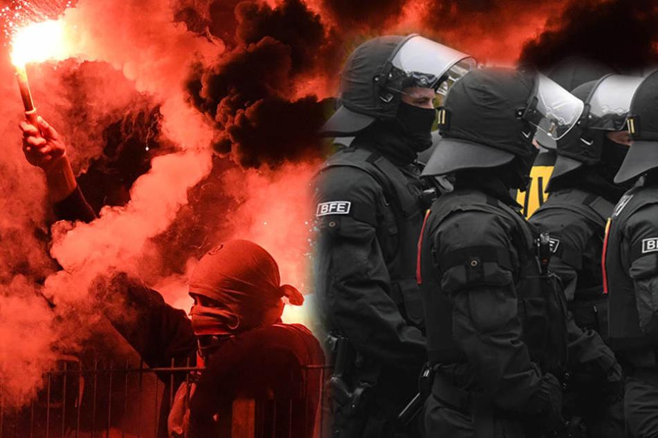 Eine Hundertschaft der Polizei verhinderte, dass die HFC-Fans die Meppener Kneipe erreichen. (Symbolbild)