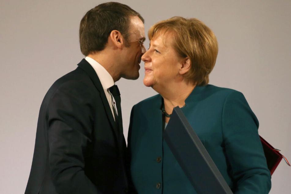 Der französische Präsident Emmanuel Macron und Bundeskanzlerin Angela Merkel.