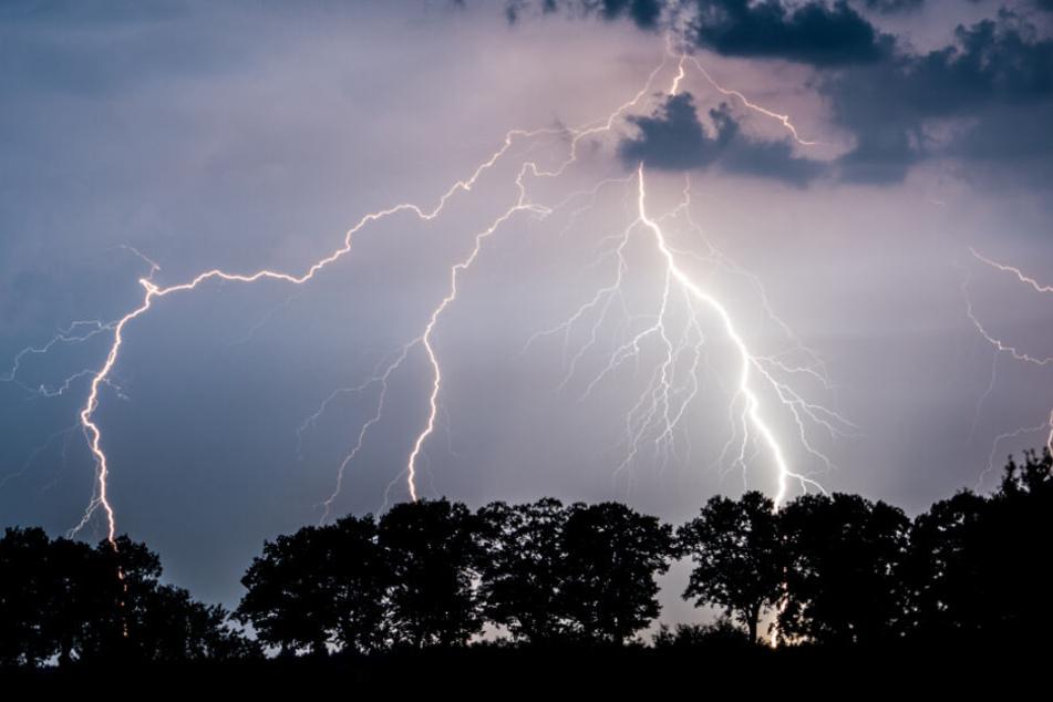 Mehrere Blitze zucken über den Himmel. (Archivbild)