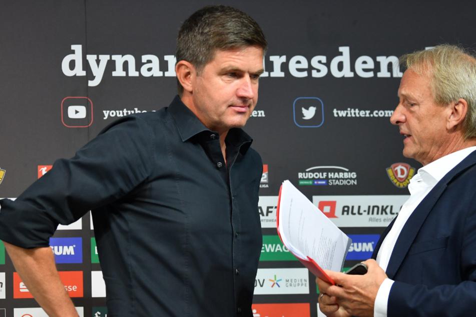 Aufsichtsratsvorsitzender Jens Heinig (rechts) im Gespräch mit Dynamos neuem Sportchef Ralf Becker.