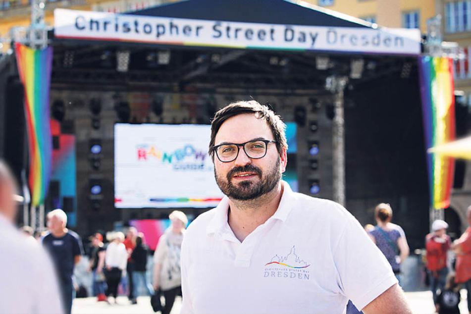 Für gleiche Rechte: Marc Dietzschkau (37), Pressesprecher vom Christopher  Street Day Dresden.