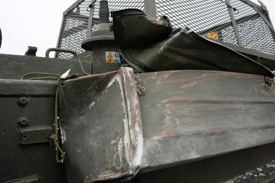 Der Panzer wurde einzig durch Lackschäden beschädigt.
