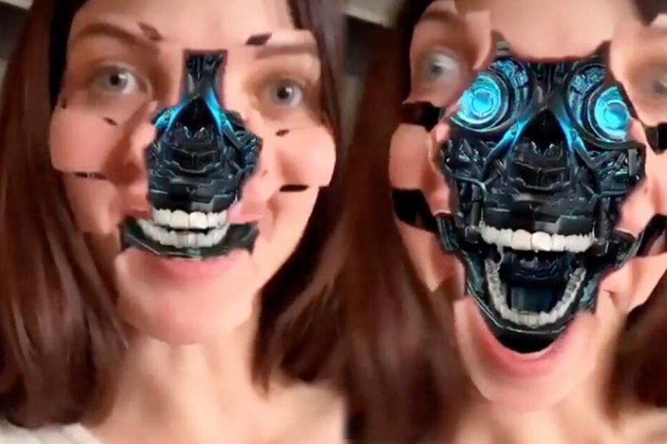 Die GNTM-Schönheit ließ sich ihr hübsches Gesicht per Face-Filter verunstalten.