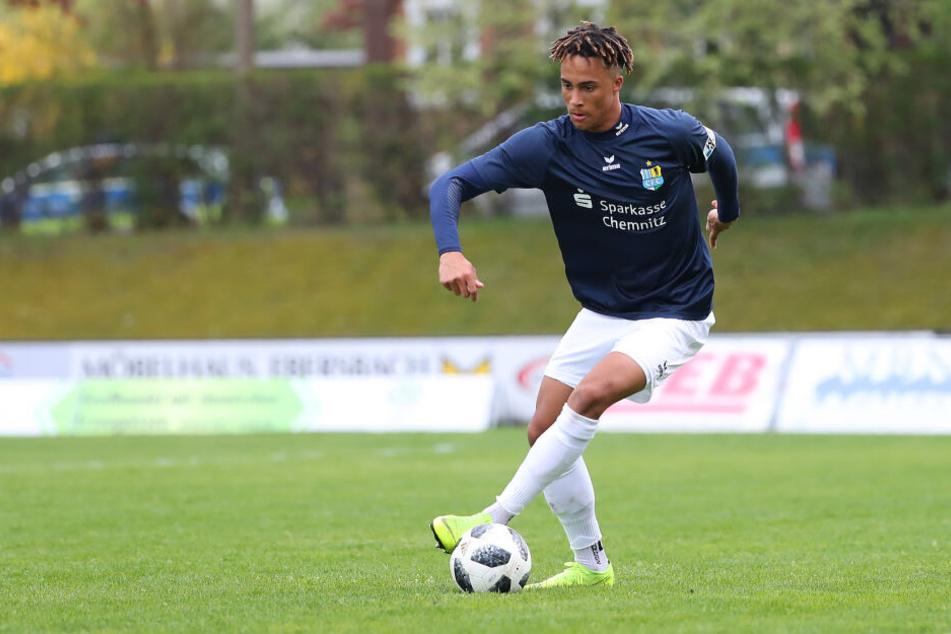 Gab in Neugersdorf sein Einstand beim Chemnitzer FC: Deji Beyreuther. Er kam im Winter von Eintracht Frankfurt.