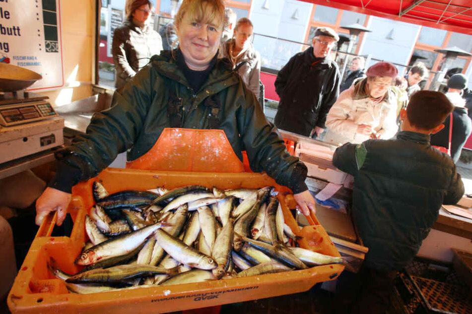 Eine Fischverkäuferin im Ostseebad Warnemünde stellt einen Kasten mit frisch gefangenen Heringen zum Verkauf bereit. (Archivbild)