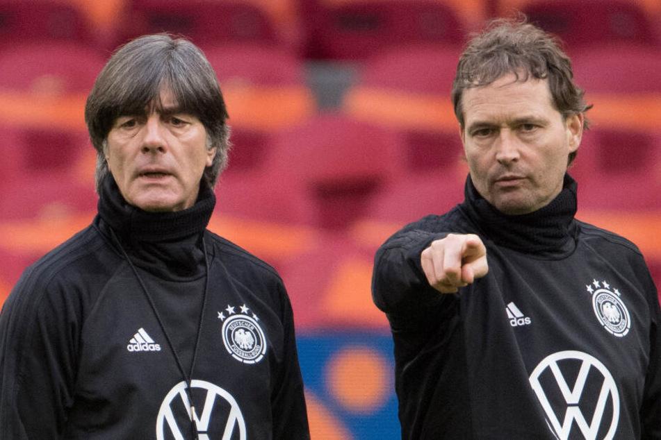 Assistenztrainer Marcus Sorg (rechts im Bild) wird Bundestrainer Joachim Löw in den kommenden beiden Spielen an der Seitenlinie vertreten.