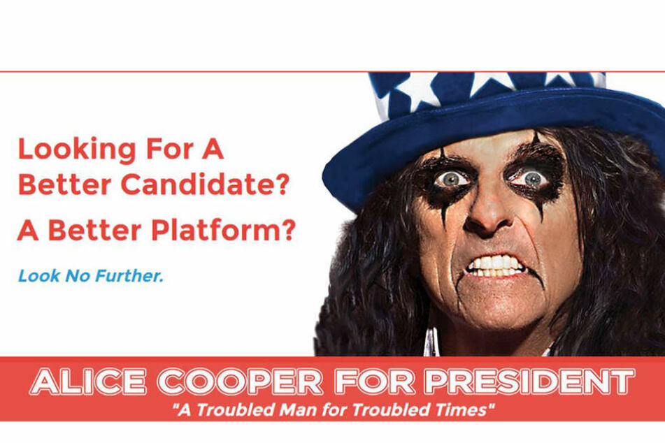 Alice Cooper gab auf seiner Webseite seine Kandidatur bekannt.