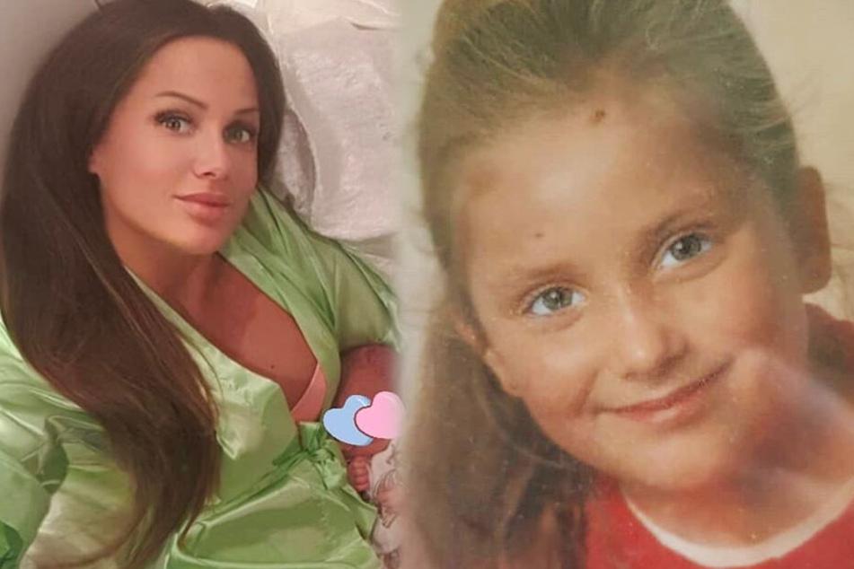 Die beiden Instagram-Screenshots zeigen Schwesta Ewa als Kind und als Mutter.