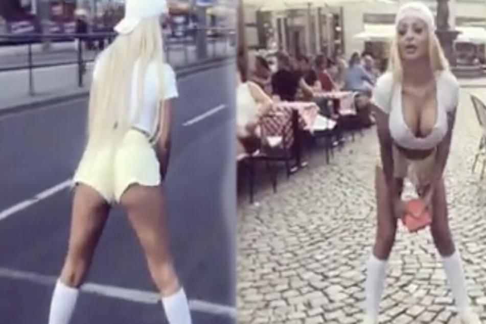 Egal ob mitten auf der Straße oder im Barfußgässchen: Katja ist unermüdlich.