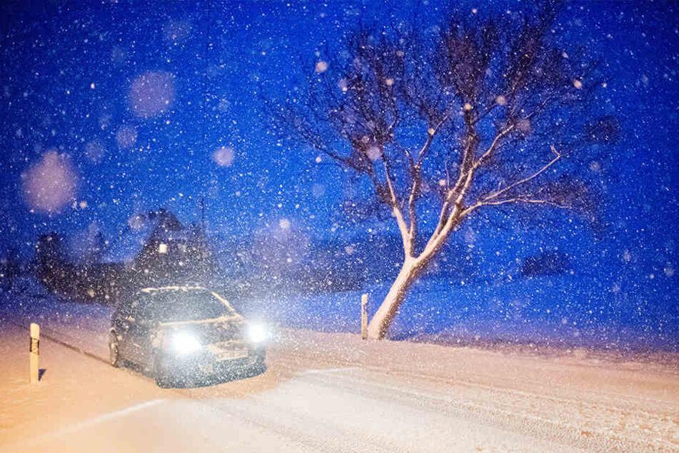 Autofahrer müssen sich durch dichtes Schneetreiben kämpfen.