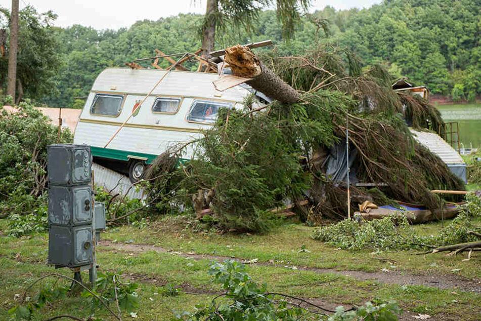 An der Koberbachtalsperre stürzte ein Baum auf einen Wohnwagen.