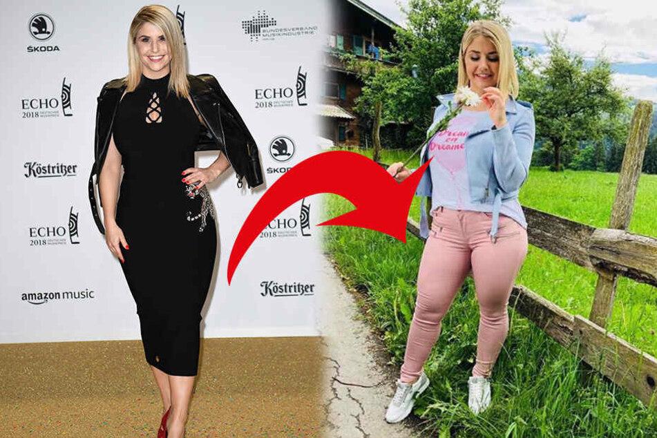 Beatrice Egli steht zu ihren Kurven - für ihre Hose (rechts) bekam sie jetzt allerdings fiese Kommentare.