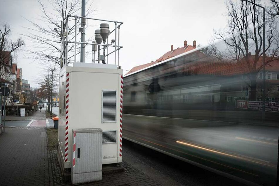 Die Feinstaub-Messtation an der Bergstraße in Dresden.