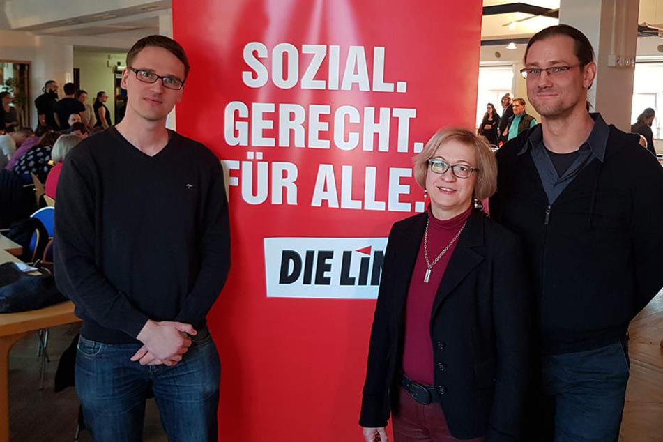 Der alte und neue Vorsitzende Adam Bednarsky und seine beiden Stellvertreter Barbara Höll und Kay Kamieth (v.l.n.r.).