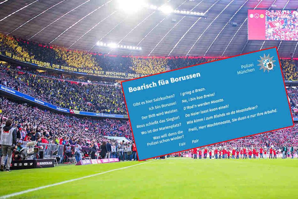 Münchner Polizei hilft BVB-Fans beim Dialekt saukomisch auf die Sprünge