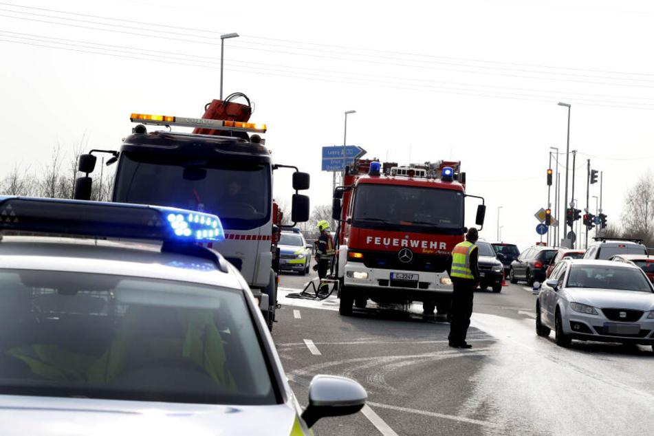 Die Zufahrt zur A72 war durch den Feuerwehreinsatz blockiert.