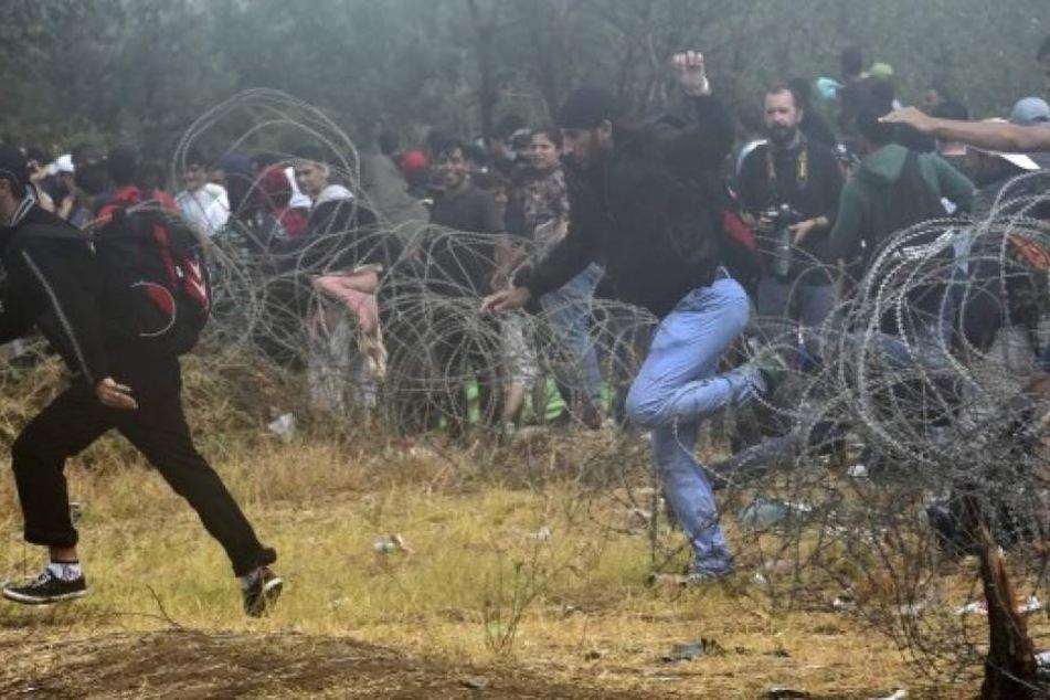 200 Migranten überqueren Sperranlage und schneiden Polizisten halbes Ohr ab
