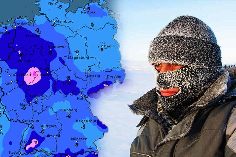 Mancherorts rutscht die Temperatur auf minus 10 Grad!