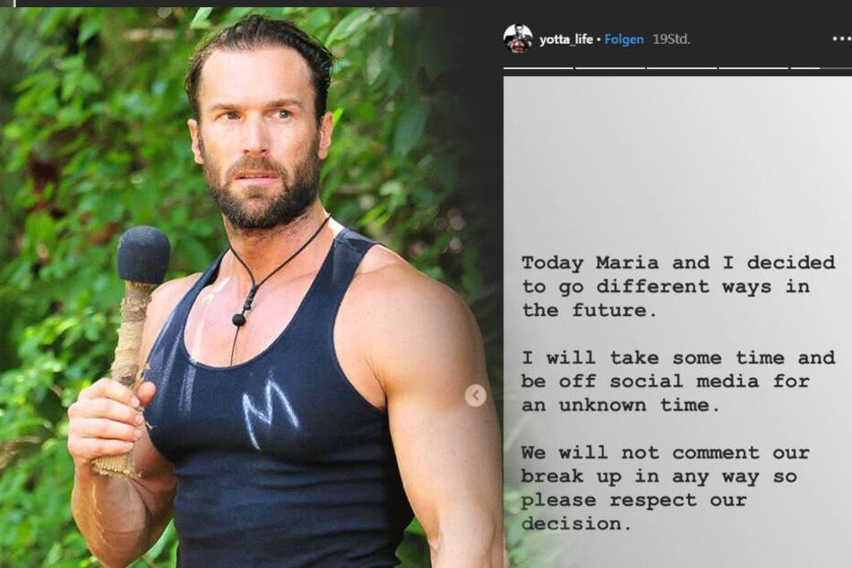 Auf Instagram hat Yotta sämtliche Fotos seiner Ex Maria gelöscht - einzig diese Story ist noch zu lesen.