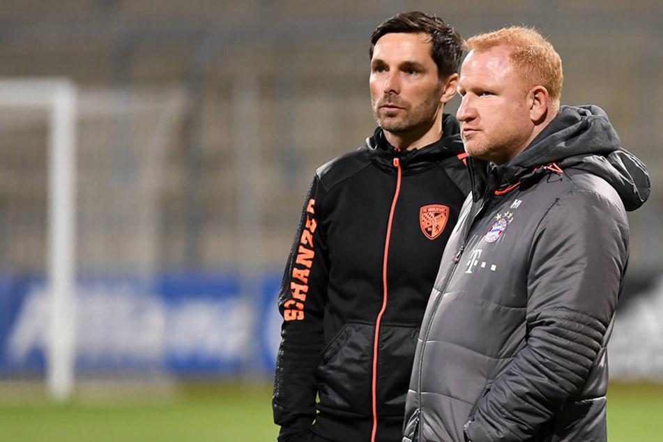 """Ist einer von beiden Mister X? Stefan Leitl (l.) trainiert noch die """"U23"""" des FC Ingolstadt. Heiko Vogel war in gleicher Funktion bis März Coach bei den Bayern."""