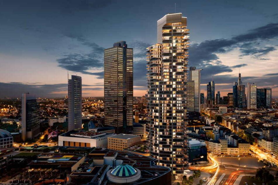 """Die Visualisierung zeigt den geplanten Wohnturm """"Grand Tower"""" in Frankfurt."""
