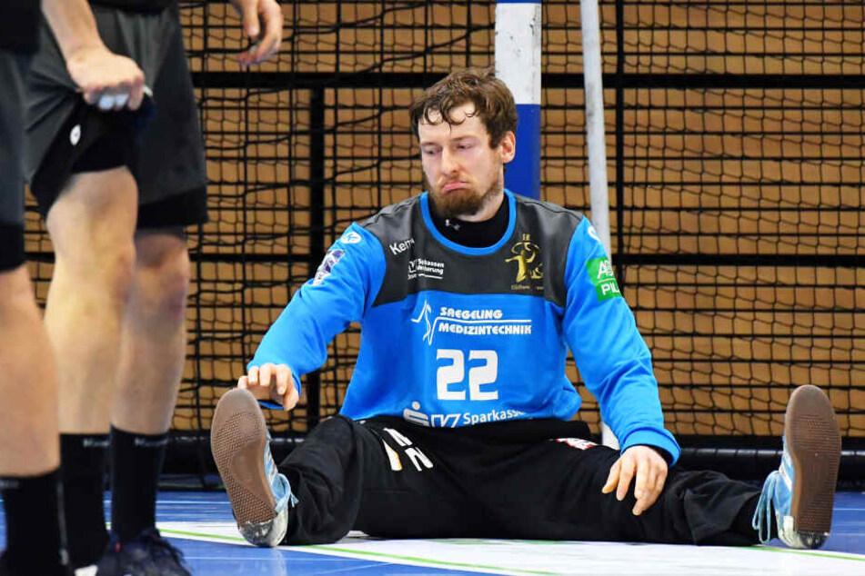 HCE-Keeper Mario Huhnstock bot gegen Bietigheim eine glänzende Vorstellung. Am Ende saß er aber enttäuscht auf dem Boden.