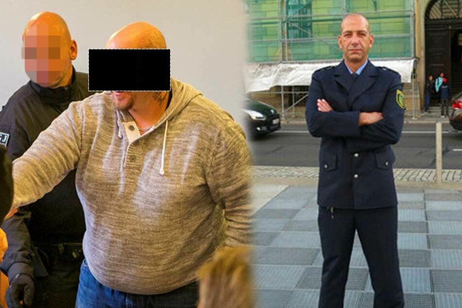 Der als Todesschütze angeklagte Hells Angel Stefan S. (31, l.) wurde am Dienstag bleich, als er erfuhr, dass Hauptkommissar Mike Jacob (43, r.) kurz davor war, dem Rocker in den Kopf zu schießen.