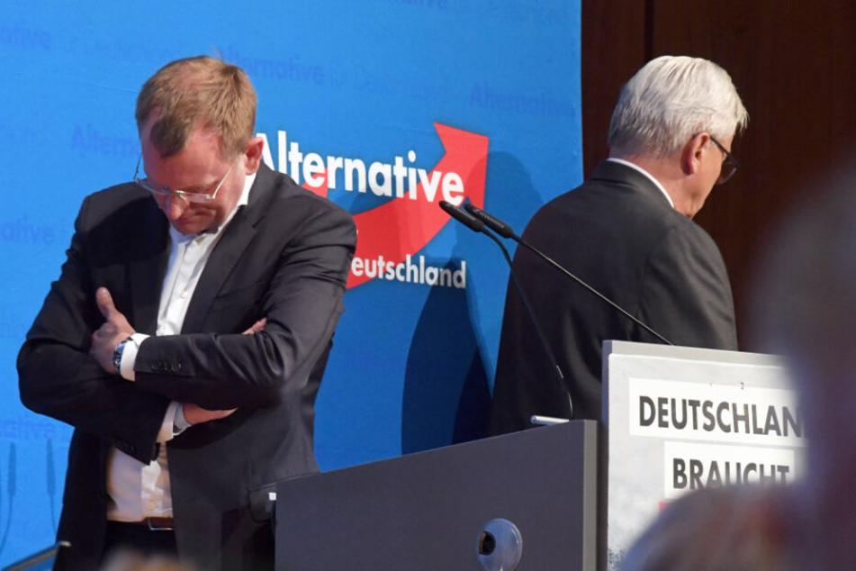 Dirk Spaniel (links) und Bernd Gögel in Pforzheim.