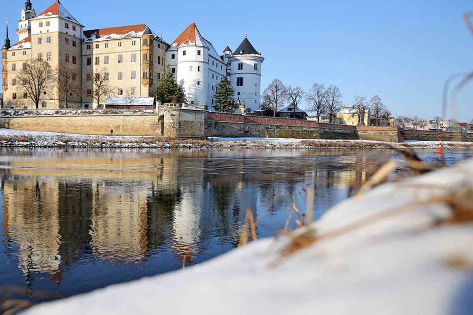 Blick auf Schloss Hartenfels in Torgau in Torgau. Es war neben der  Albrechtsburg in Meißen und dem Dresdener Schloss eines der drei sächsischen  Residenzschlösser