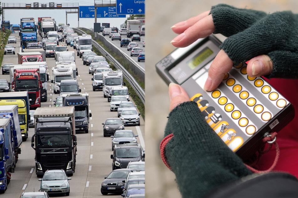 Auch digitale Erfassungsgeräte werden bei der Zählung genutzt. Insgesamt 600 Männer und Frauen stehen bis Oktober in Sachsen bereit zum Zählen des Verkehrs auf Autobahnen, Bundes- und Staatsstraßen.