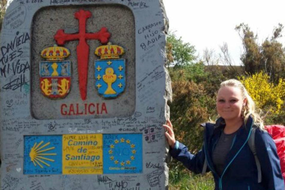 Ein Treffpunkt für Pilger: der Hinweisstein in Galizien.
