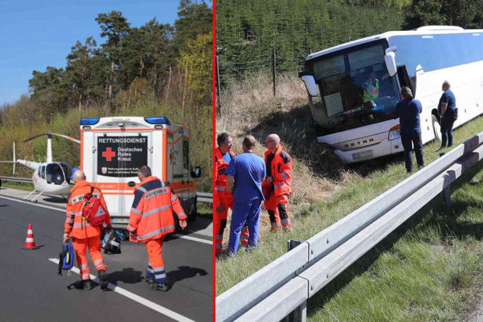 Schock-Unfall auf der A19: Vollbesetzter Reisebus landet im Straßengraben