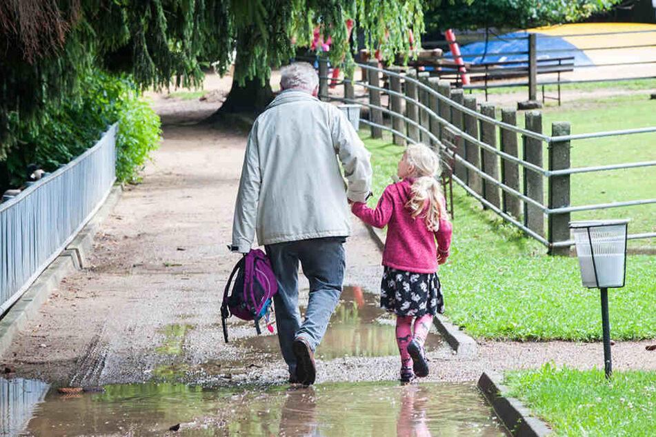 Sichtbare Spuren der sintflutartigen Regenfälle: Die Besucherwege im Tierpark Hirschfeld sind überschwemmt.