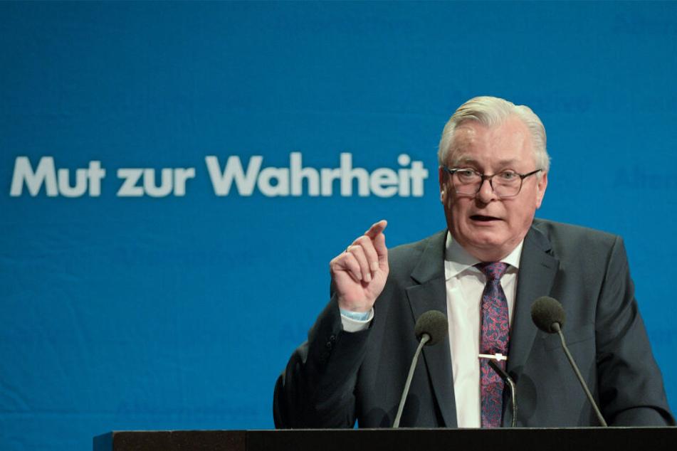 Bernd Gögel spricht beim Parteitag im Februar zu den Delegierten.