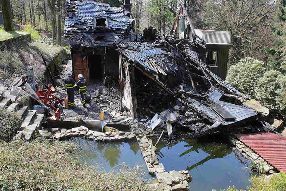 Das Wohnhaus der Familie Wolff im Zittauer Gebirge brannte völlig nieder.