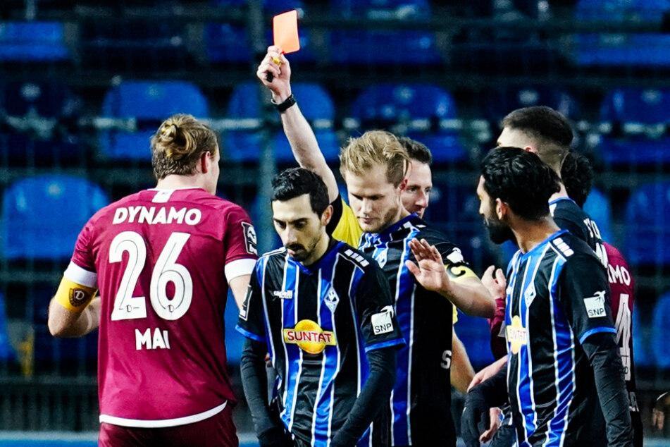 Das ist richtig bitter! Dynamo-Kapitän Sebastian Mai (27, l.) fehlt nach seinem Aussetzer gleich dreimal.