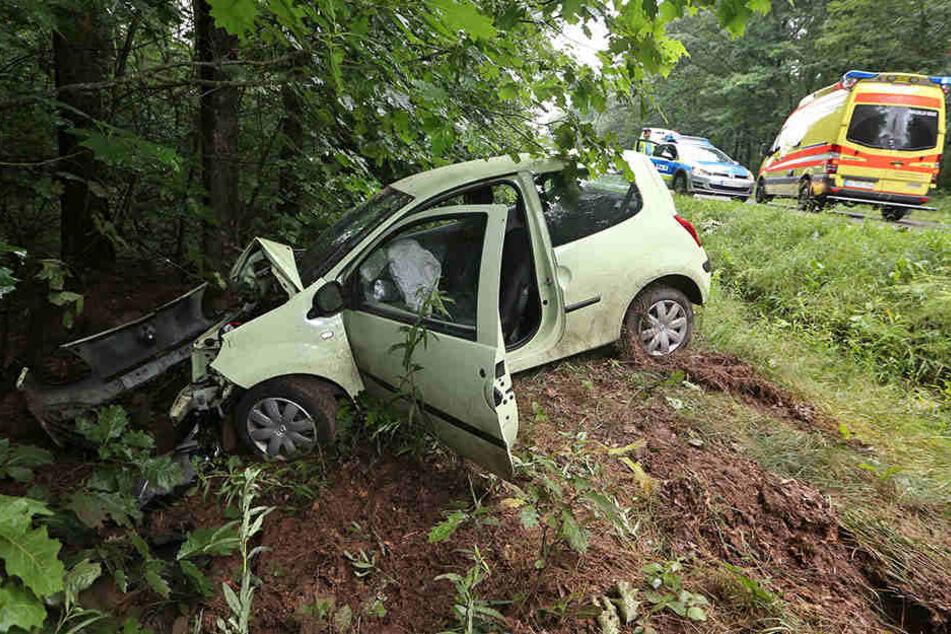 Der Renault prallte frontal gegen einen Baum.