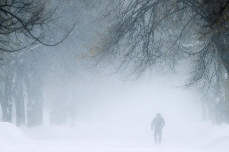 Green Bay: Ein Mann geht während eines Schneesturms eine Straße entlang. Die Temperaturen sind weit unter dem Gefrierpunkt.