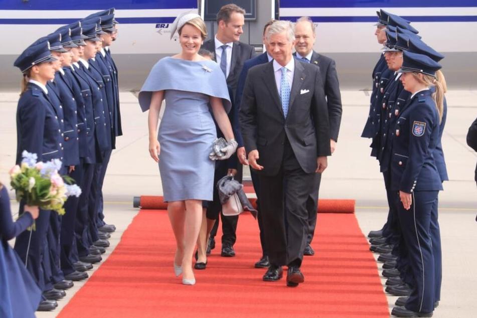 Das Königspaar bei seiner Ankunft in Erfurt.