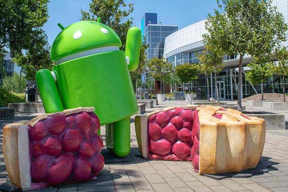 Auf dem Google-Firmengelände in Mountain View, Kalifornien steht das Android-Maskottchen mit der jeweils aktuellen Version - in diesem Fall Android Pie.